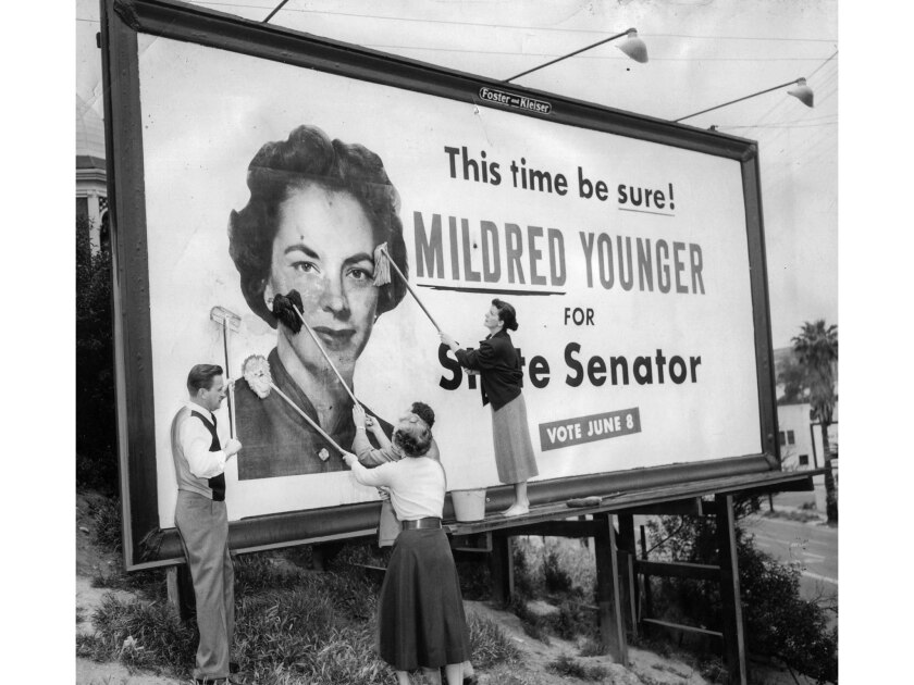 May 9, 1954: Hollywood Young Republicans clean Mildred Younger billboard after vandals smeared it wi