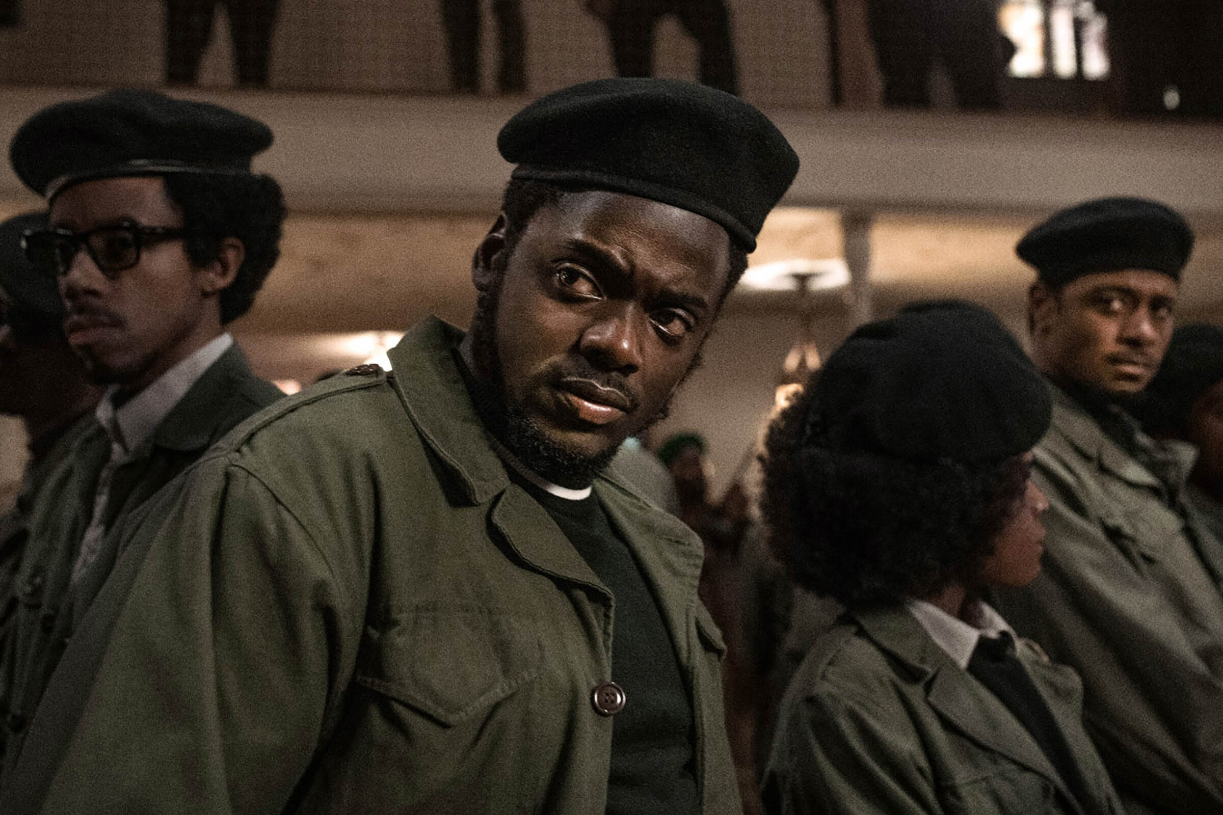Darrel Britt-Gibson, Daniel Kaluuya and Lakeith Stanfield appear in 'Judas and the Black Messiah', directed by Shaka King