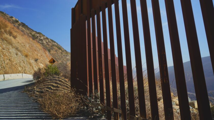 The bollard-style border fence in the Otay Mountain area east of Tijuana, part of Border Patrol's San Diego sector.