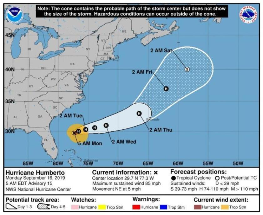 Hurricane Humberto intensifies, threatens US coast with strong waves