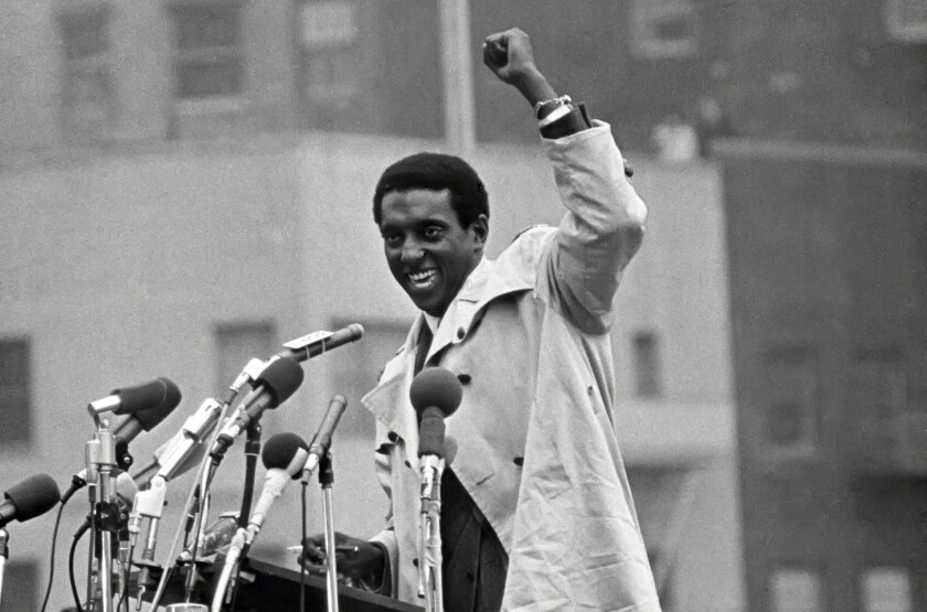 Stokely Carmichael attends an anti-Vietnam War rally outside the United Nations in New York City in 1967.
