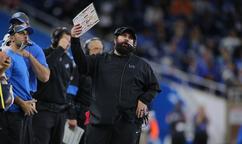 Detroit Lions coach Matt Patricia reacts to a play during the fourth quarter against the Tampa Bay Buccaneers.