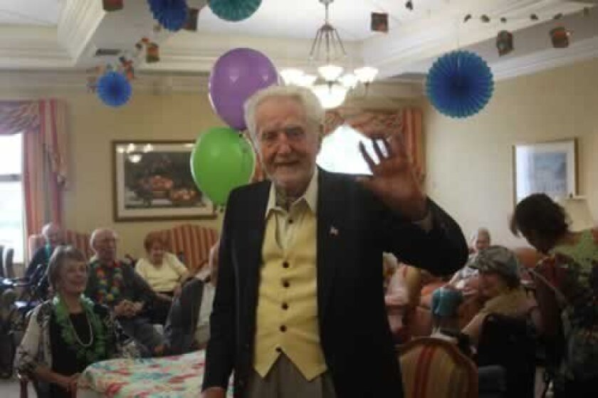 Les Stypinski at his 100th birthday party at Vi at la Jolla Village. Photos by Ashley Mackin