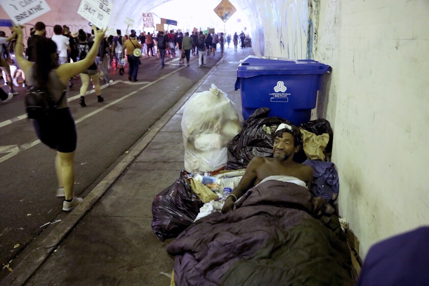 Protestors in the 2nd Street Tunnel in Los Angeles.
