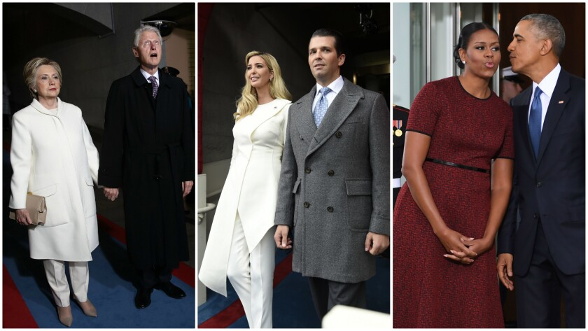 From left: former Secretary of State Hillary Clinton, former President Bill Clinton; Ivanka Trump, Donald Trump Jr.; Michelle Obama and President Obama.