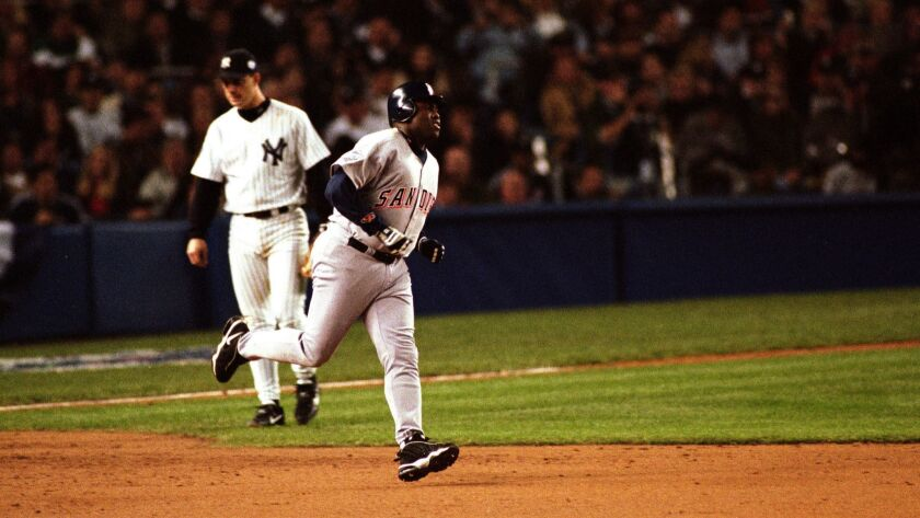 October 17, 1998_New York NY_USA_| San Diego Padre Tony Gwynn rounds the bases at Yankee Stadium aft