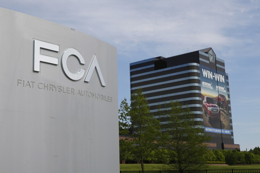 Photo shows the Fiat Chrysler Automobiles world headquarters in Auburn Hills, Mich.