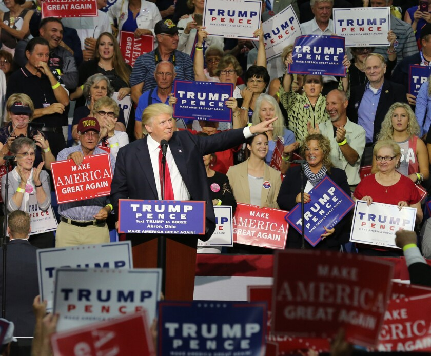 Donald Trump speaks to supporters at a rally Monday in Akron, Ohio.