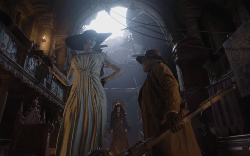 """Lady Dimitrescu and fellow """"Resident Evil Village"""" antagonists stand in front of Ethan Winters. (Gameplay screenshot, Capcom)"""
