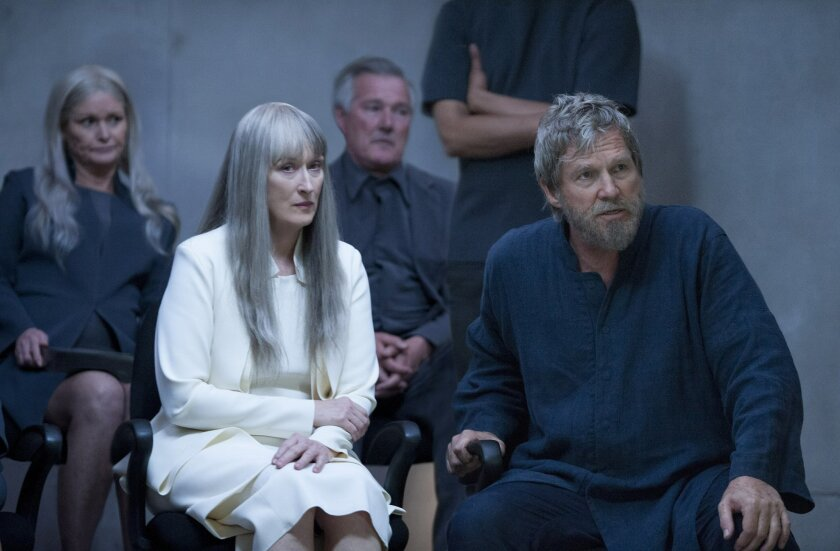 """This image released by The Weinstein Company shows Meryl Streep, left, and Jeff Bridges in a scene from """"The Giver."""" (AP Photo/ The Weinstein Company)"""
