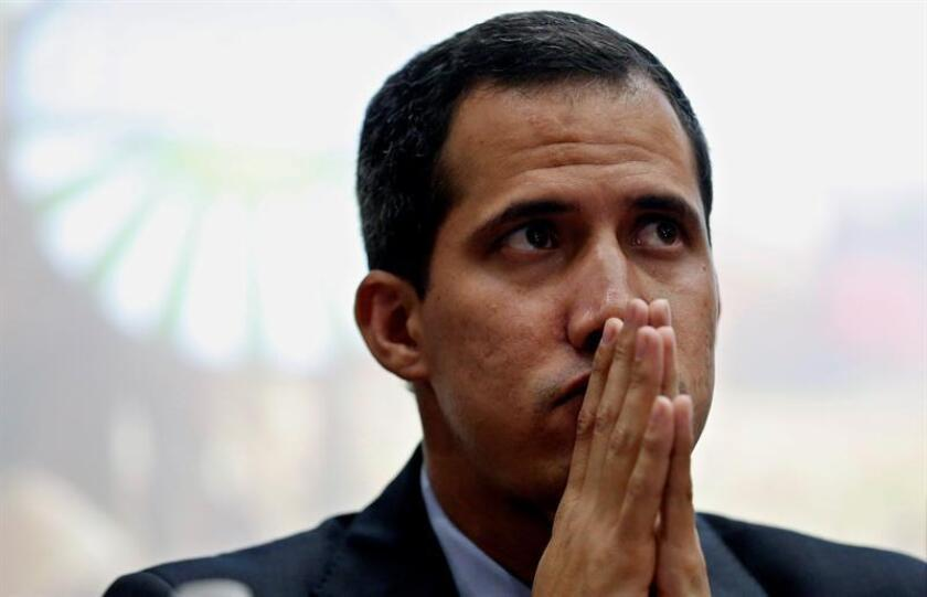 Venezuelan National Assembly president and opposition leader Juan Guaido holds a meeting with agricultural producers in Caracas on 06 February 2019. EFE-EPA/ Leonardo Munoz