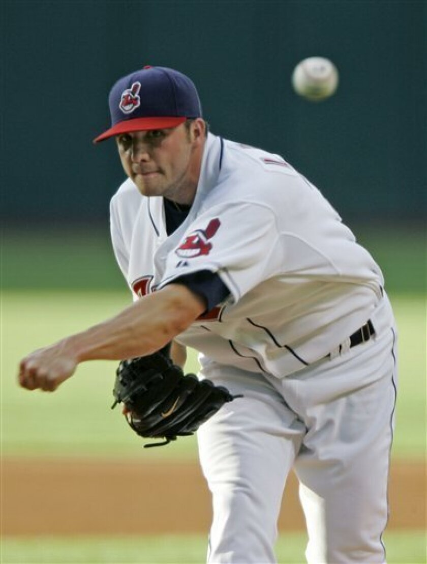 Cleveland Indians' Aaron Laffey pitches against the Tampa Bay Rays in the first inning of a baseball game Thursday, July 10, 2008, in Cleveland. (AP Photo/Mark Duncan)
