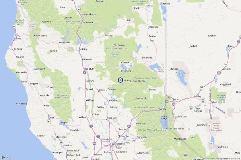 A map showing the epicenter of Saturday morning's quake near Belden, Calif..