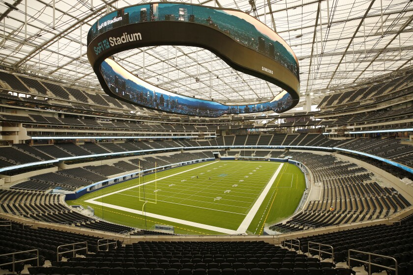 Next year's Super Bowl will be played at 3.1 million square-foot SoFi Stadium, the largest stadium in the NFL.