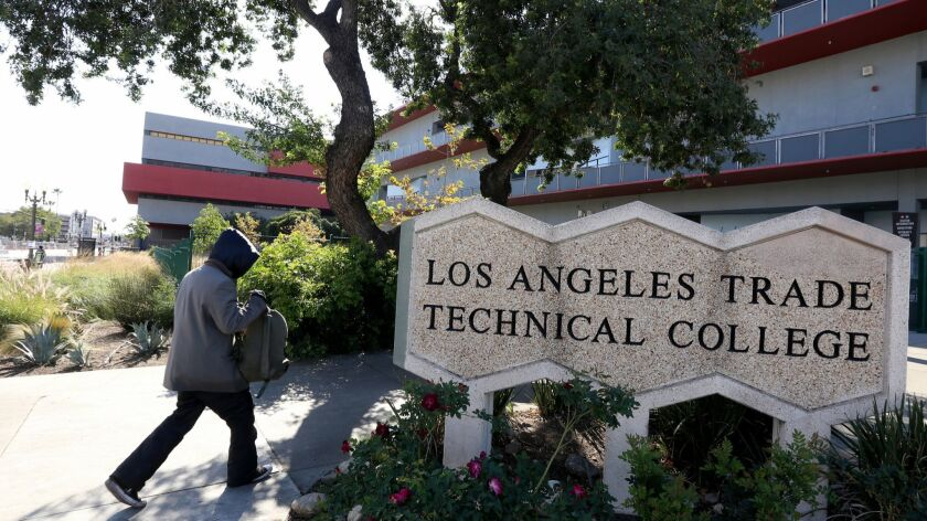 LOS ANGELES CA. FEBRUARY 21, 2018: The entrance to Los Angeles Trade Technical College on Februar