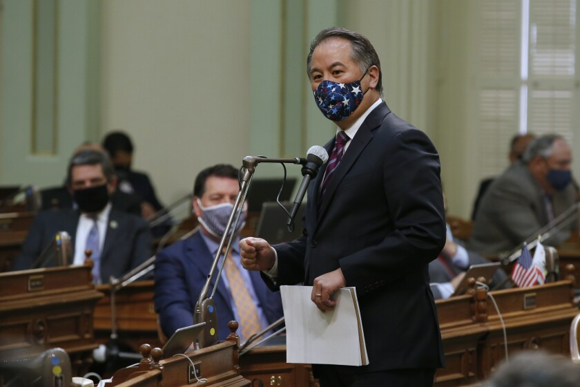 Assemblyman Phil Ting, D-San Francisco, urges lawmakers to approve the state budget plan,