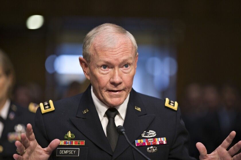 Army Gen. Martin Dempsey, chairman of the Joint Chiefs of Staff, appears before the Senate Armed Services Committee in Washington.