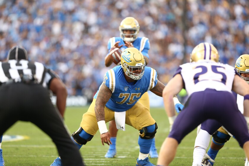 Bruins center Boss Tagaloa may be joined on the offensive line by true freshman tackle Sean Rhyan.