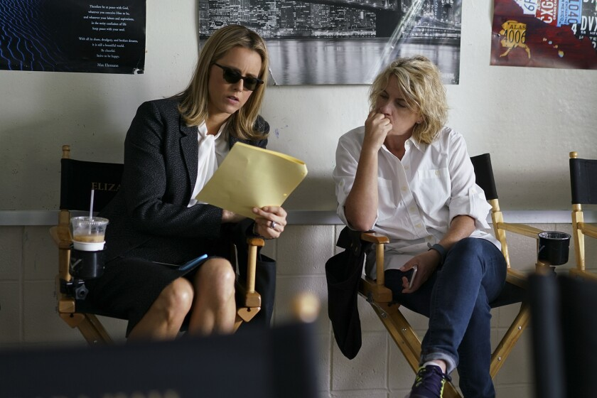 """Madame Secretary"" star Téa Leoni, left, with show runner Barbara Hall on the drama's set."