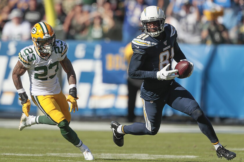 Chargers receiver Mike Williams turns upfield in a game against the Green Bay Packers last November.