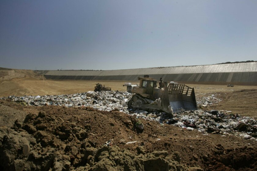 San Diego's Miramar Landfill recently opened its final section, which is expected to reach capacity in about a decade, even though more waste is being diverted for recycling. The city will use private landfills after that. <em> &#8201; John Gibbins / Union-Tribune </em>