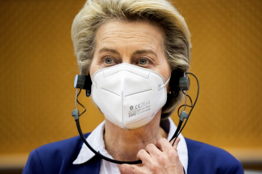 European Commission President Ursula von der Leyen listens to statements during a meeting of the Conference of Presidents at the European Parliament in Brussels, Tuesday, April 13, 2021. (AP Photo/Francisco Seco, Pool)