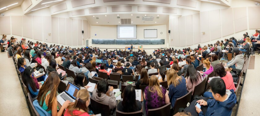 UCSD's lecture halls were jammed in 2019 but will have fewer students as the school heads into 2021.