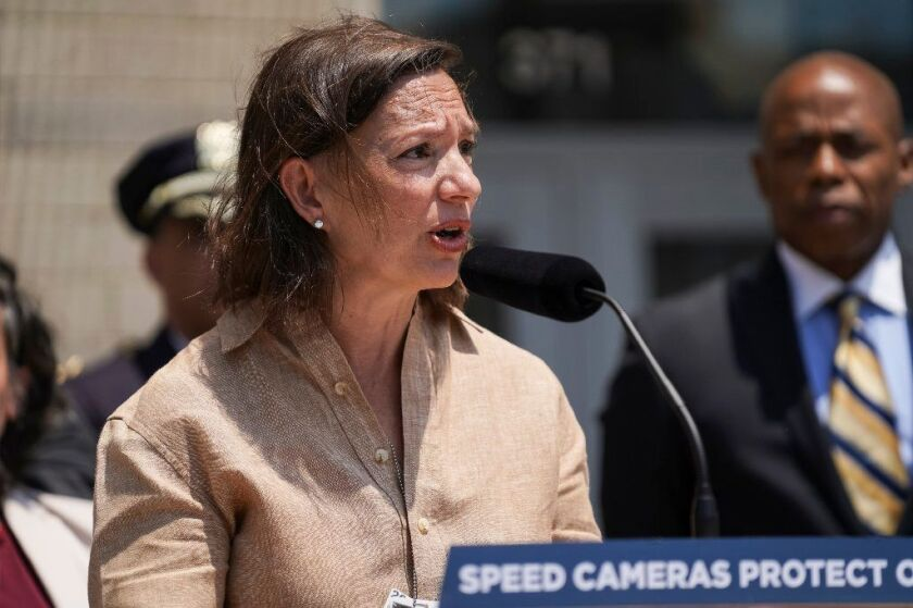 Elizabeth Rose seen speaking at a press conference in June, has been reassigned to a new position in the wake of problems with school buses this year,