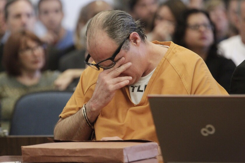 Scott Dekraai, who killed eight people at a Seal Beach salon in 2011, reacts Friday during victim impact statements at his sentencing.