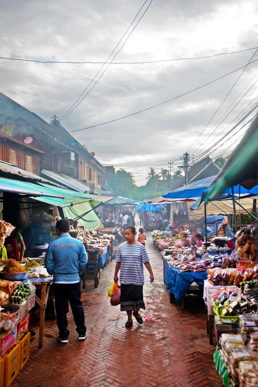 A shopper at Luang Prabang's open-air morning market