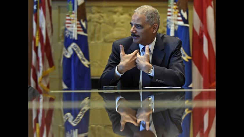 "Atty. Gen. Eric Holder, seen earlier this month, announced Thursday that he will step down. ""There remains a great deal to be done,"" Holder said Friday. ""I have no intention of letting up or slowing down."""