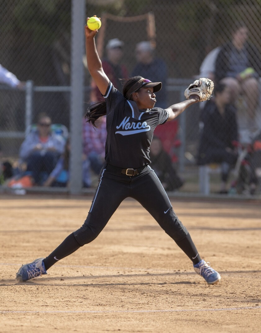 Norco's Sarah Willis pitches during the CIF Southern Section Division 1 semifinal game against Hunti
