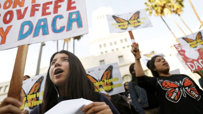 Francheska Escobar, 15, attends a rally organized by members of the California Dream Network and the Coalition for Humane Immigrant Rights Los Angeles calling for action on the future of the DACA program outside City Hall in downtown Los Angeles on Monday, March 5, 2018.