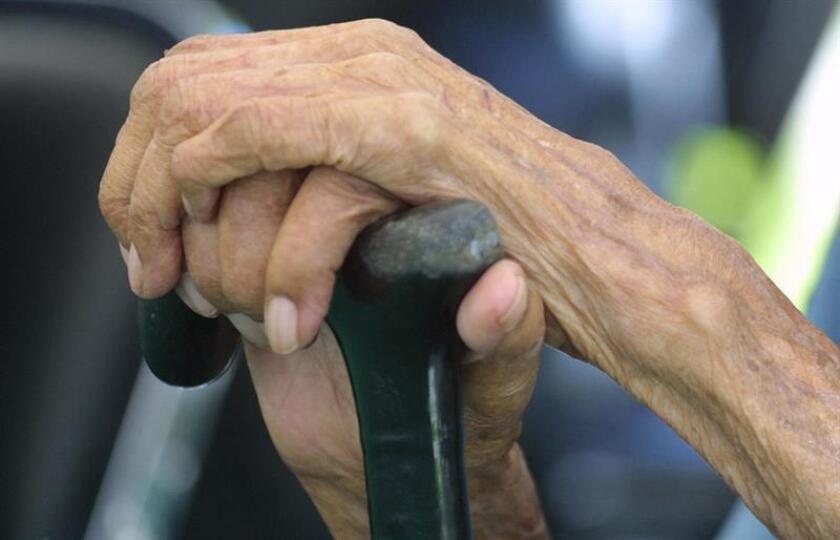 Detalle de las manos de una persona de la tercera edad que sostiene su bastón. EFE/Archivo