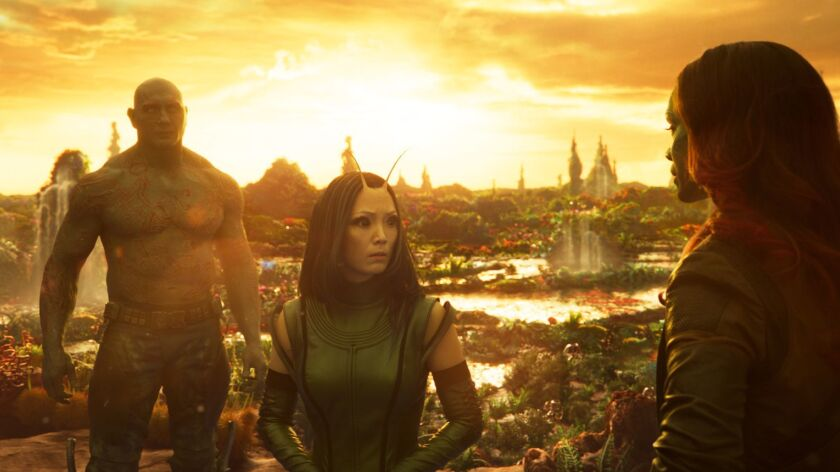 "A scene in ""Guardians Of The Galaxy Vol. 2"": from left, Dave Bautista as Drax, Pom Klementieff as Ma"