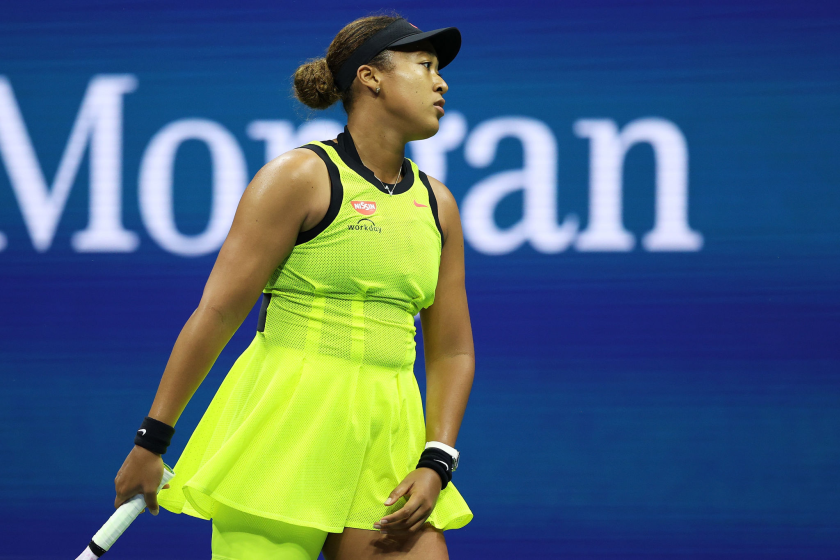 Naomi Osaka reacts during her 5-7, 7-6 (2), 6-4 loss to Leylah Fernandez in the third round of the U.S. Open.
