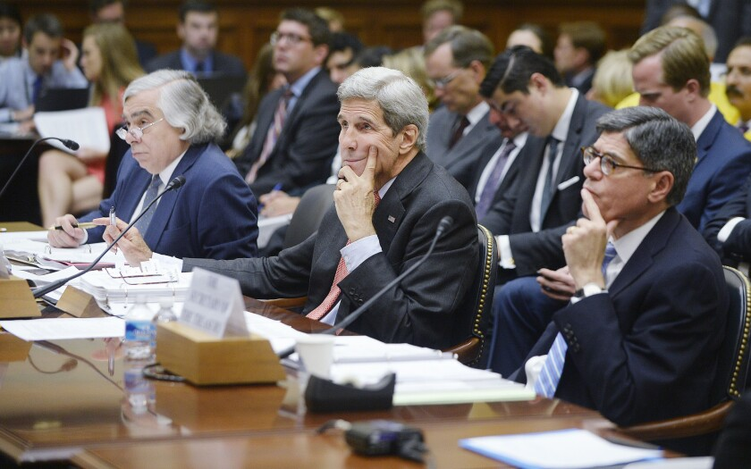 Secretary of State John Kerry, Secretary of Energy Dr. Ernest Moniz (left) and Secretary of the Treasury Jacob Lew (right) appear at a hearing before the House Foreign Affairs Committee on July 28. The committee is reviewing the proposed Iran nuclear agreement.