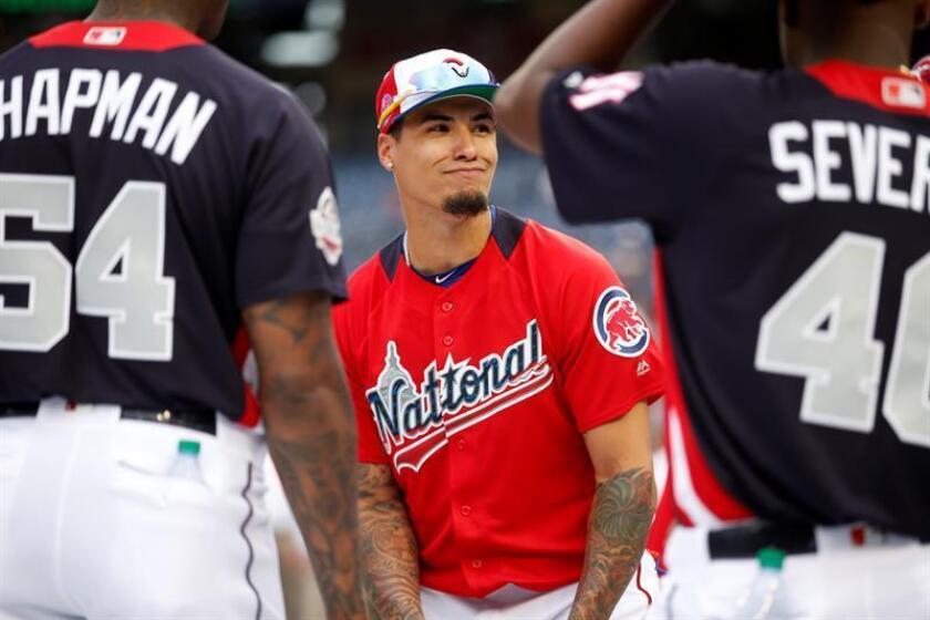 Fotografía tomada el pasado 16 de julio en la que se registró al beisbolista puertorriqueño Javier Báez, integrante de los Cachorros de Chicago, durante la edición 89 del Juego de las Estrellas de la MLB, Washington (EE.UU.). EFE/Archivo