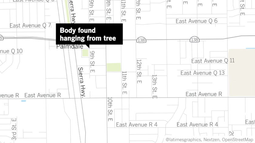 A map shows the 38300 block of 9th Street East in Palmdale where the body of 24-year-old Robert Fuller was found.