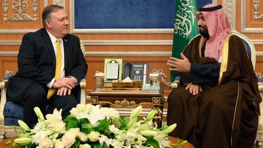 U.S. Secretary of State Michael R. Pompeo meets with Saudi Crown Price Mohammed bin Salman at the Royal Court in Riyadh on Monday.