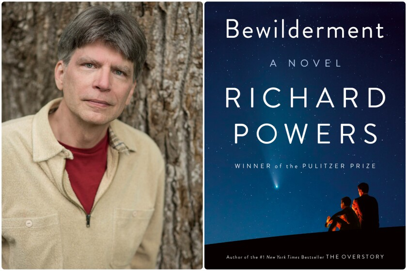 """A split image of a man in a cream sweater and a blue book cover for """"Bewilderment"""" by Richard Powers"""