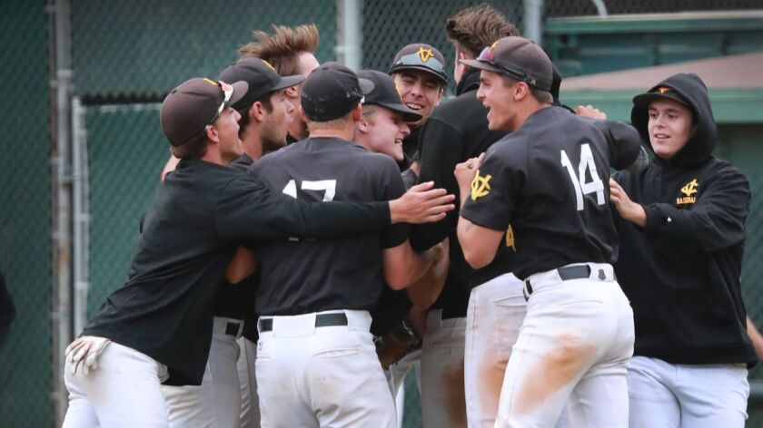 ORANGE, CALIF. -- TUESDAY, MAY 29, 2018: Capistrano Valley players celebrate their 4-2 win over Oran