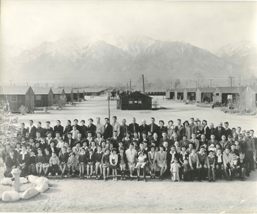 This 1943 photo shows the Manzanar prison camp in California.