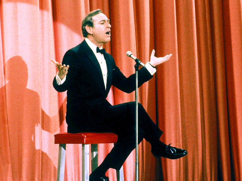 Shelley Berman performed his comedy routines, such as this one circa 1970, sitting on a custom stool.