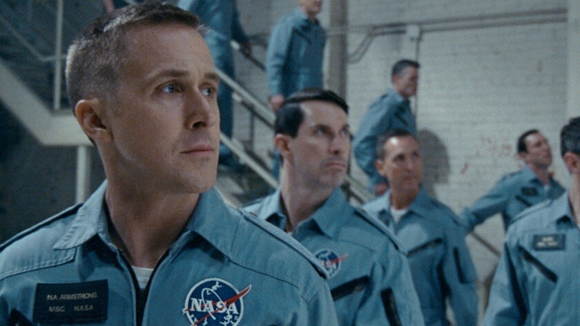 """Ryan Gosling, left, stars as Neil Armstrong in Damien Chazelle's biopic """"First Man."""""""