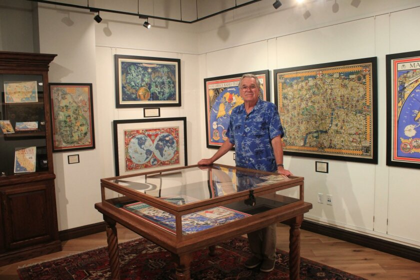 La Jolla Map Museum director Richard Cloward shares details about the 'Art Meets Map' exhibit's 13 pieces dated between 1918 and 1955.