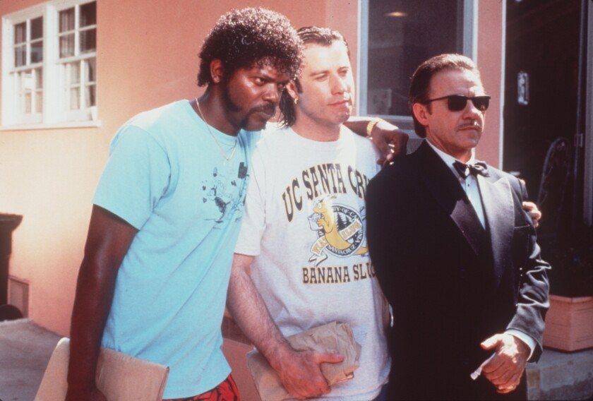 "Samuel L. Jackson, left, John Travolta, Samuel L. Jackson and Harvey Keitel in a scene from ""Pulp Fiction"" (1994)."