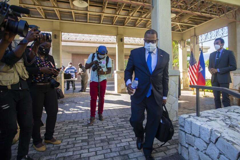 Assistant Secretary for Western Hemisphere Affairs Brian Nichols leaves the U.S. Embassy, in Port-au-Prince, Haiti, Friday,