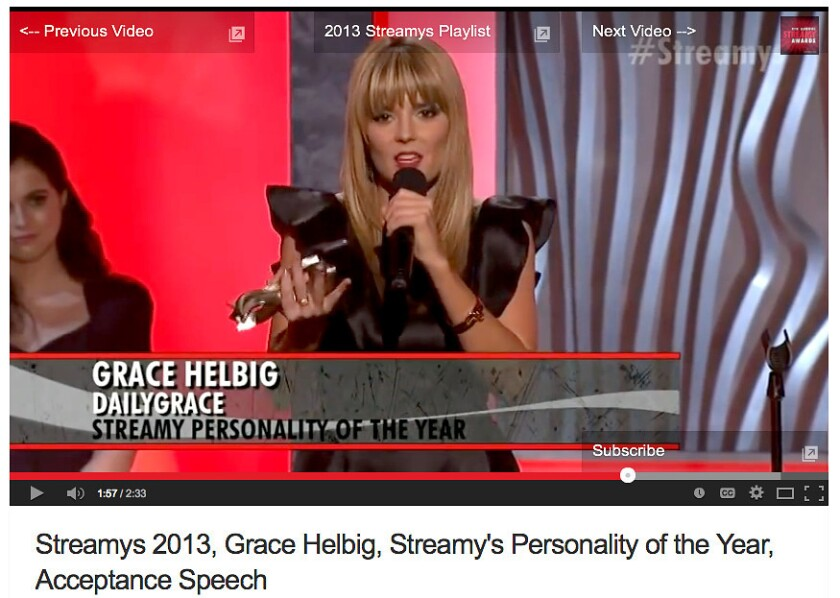 """YouTube star Grace Helbig is shown in a screengrab from the 2013 Streamy Awards. Helbig and fellow YouTuber Hannah Hart will appear in a reboot of the 1970s TV show """"Electra Woman and Dyna Girl."""""""