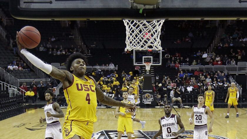 Southern California's Kevin Porter Jr. (4) dunks the ball during the first half of an NCAA college b